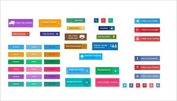 Flat Material Design Web Buttons