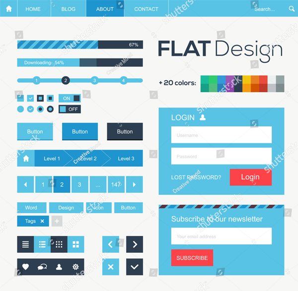 Flat Web and Mobile Design Buttons