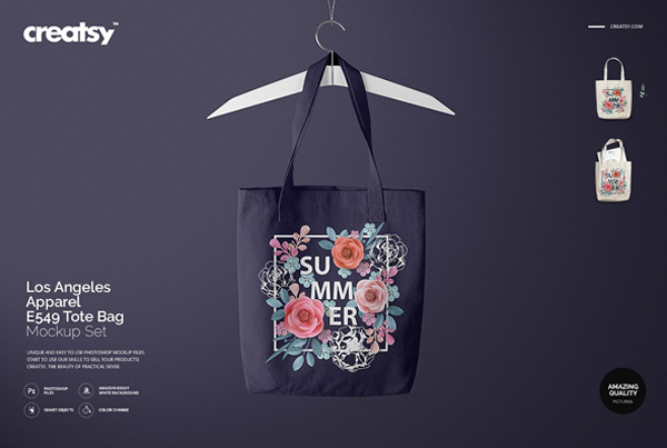 Floral Tote Bag Mockup