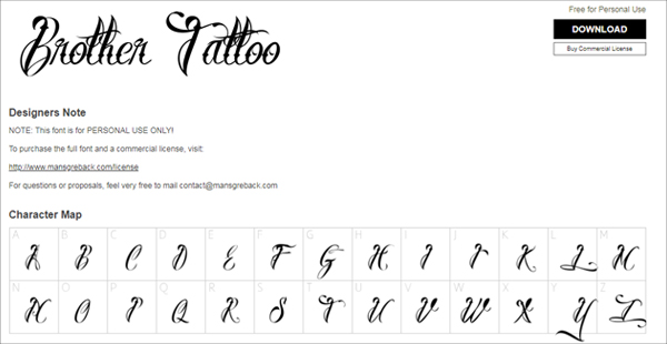 Free Brother Tattoo Lettering Fonts