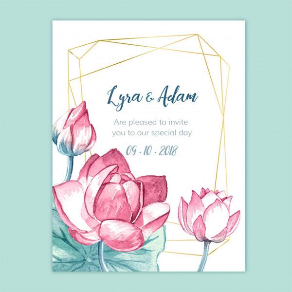 Free Watercolor Floral Wedding Invitation
