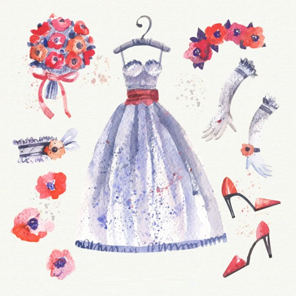 Free Watercolor Wedding Dress
