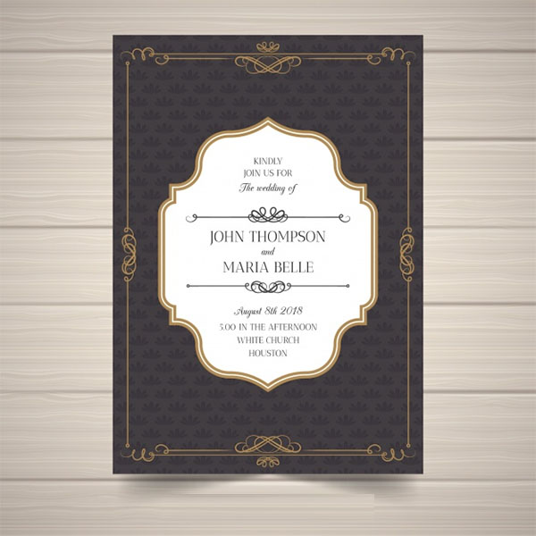 Free vintage Elegant wedding invitation