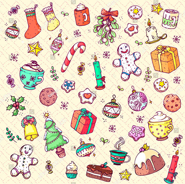 Hand Drawn Vector Doodle Christmas Collection