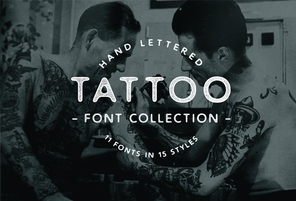 Hand lattered Tattoo Font Collection