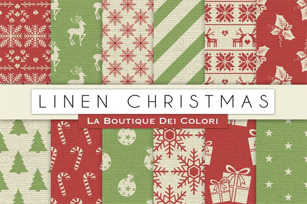 Linen Christmas Digital Paper