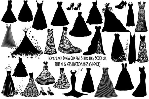Long Black Dress Silhouettes AI EPS PNG