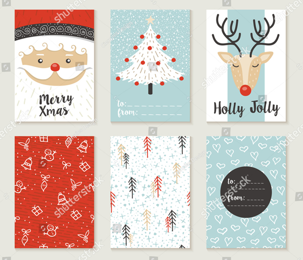 Merry Christmas Greeting Cards Set