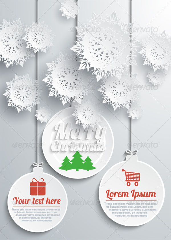 Merry Christmas Paper Snowflakes Text With Balls