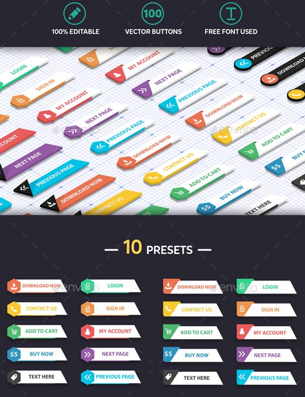 Modern Flat Design Web Buttons