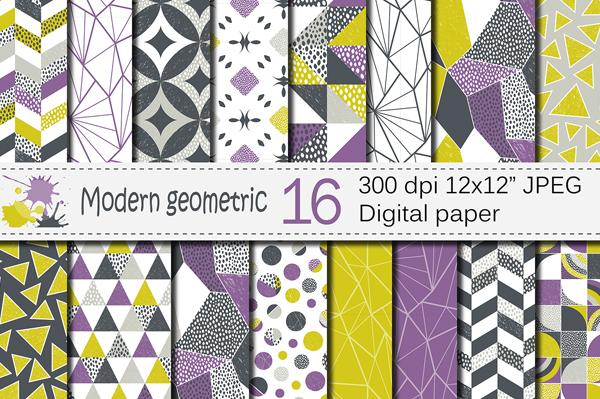 Modern Geometric Digital Paper Pattern