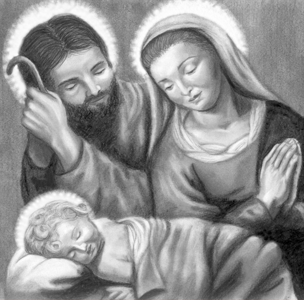 Pencil Drawing Christmas Holy Family