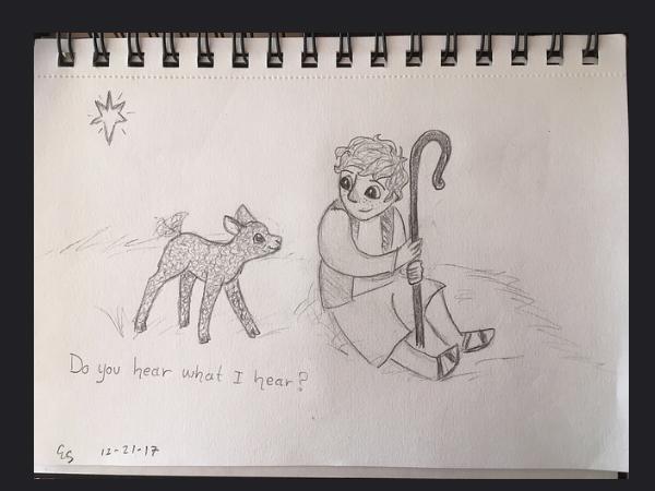 Pencil Sketch Christmas Sheep and Santa