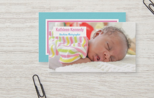 Pink & Blue Newborn Photographer Business Card