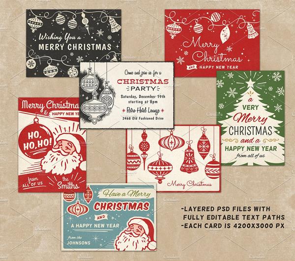 Retro Merry Christmas Cards