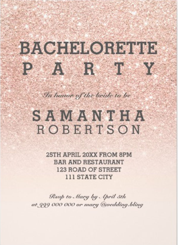Rose Gold Faux Bachelorette Party Invitation Template