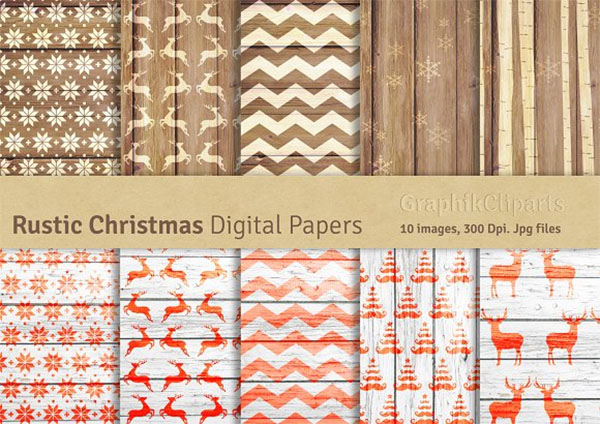 Rustic Christmas Digital Papers