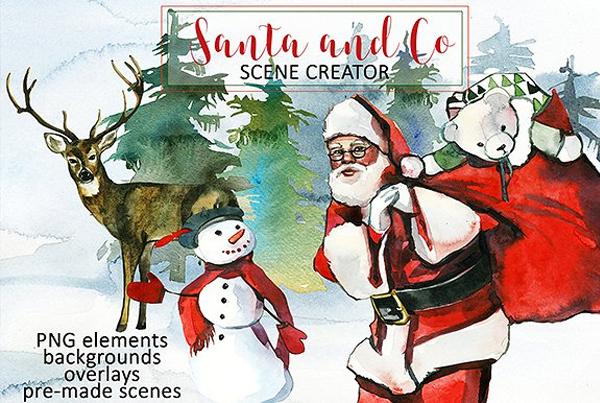 Santa & Christmas Clipart Set