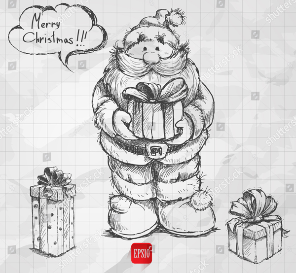 Sketch Style Christmas Santa with Gift Boxes
