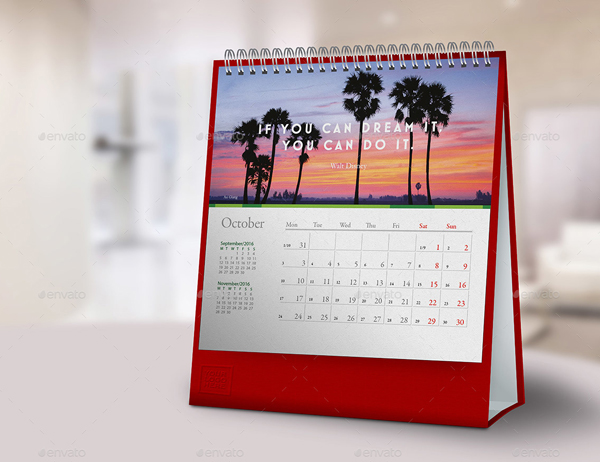Square Dimension Desk Calendar Mockups