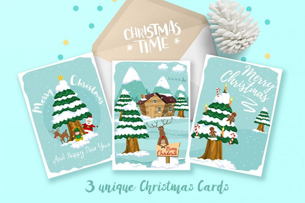 Unique Vector Christmas Gift Cards