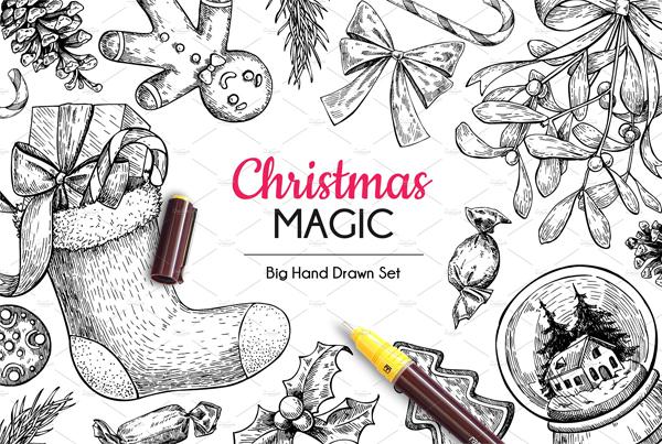 Vector Christmas Hand Drawn Elements Set