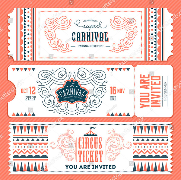 Vintage Carnival Ticket Invitation