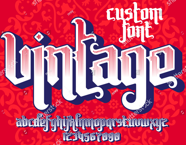 Vintage Custom Tattoo Font