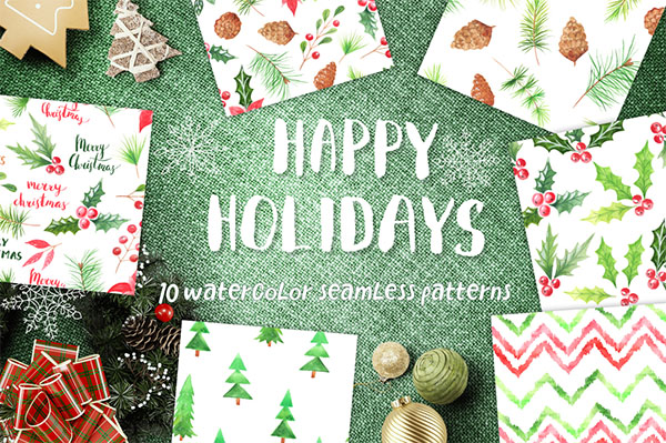 Watercolor 10 Christmas Patterns