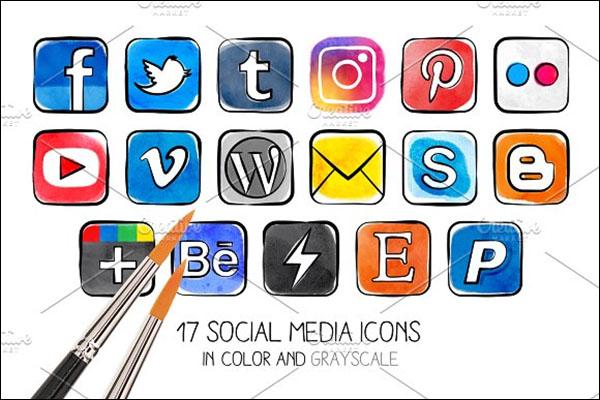 Watercolor PNG Social Media Icons