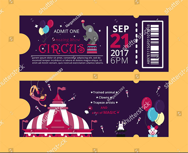 Vector Style Carnival Invitation Ticket
