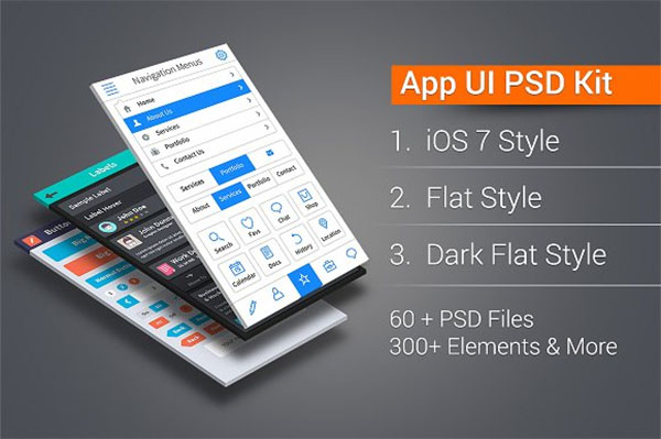 App UI PSD Kit in 3 Styles