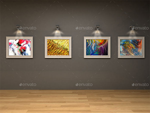 Art Gallery Wall Framed Mockup