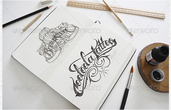 Artist Sketch Tatto Book Mock-Up Template