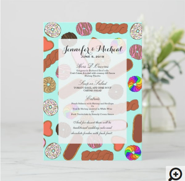 Assorted Cute Breakfast Foodie Donuts Menu
