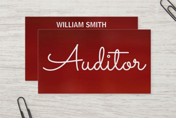 Auditor Red Business Card Template
