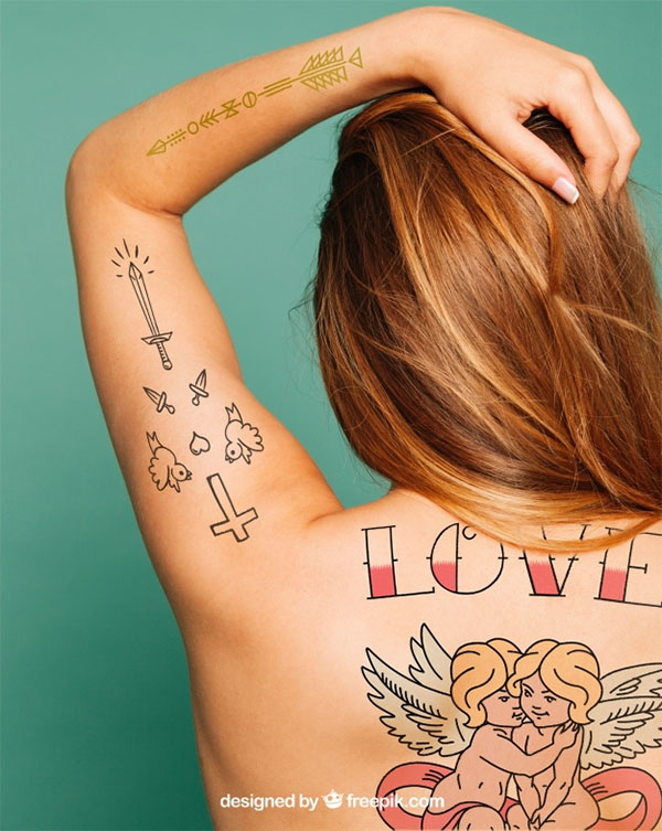 Back Tattoo Mockup Art Free PSD