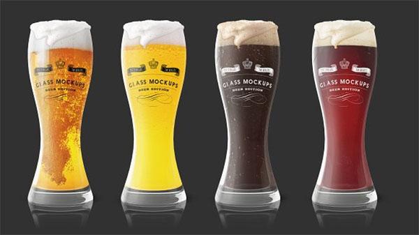 Beer PSD Glass Mockup Templates