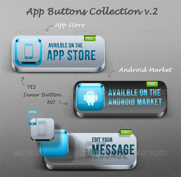 Best App PSD Buttons