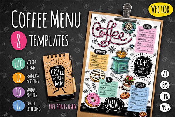 Big Coffee and Sweets Menu Template
