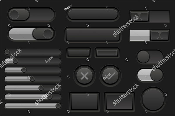 Black Interface Buttons Set