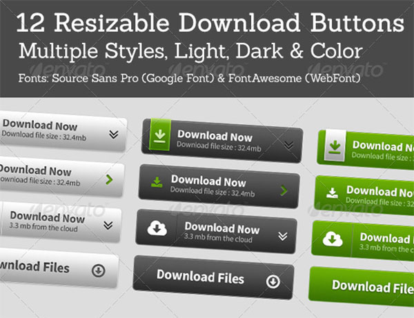 Black Web Download Buttons