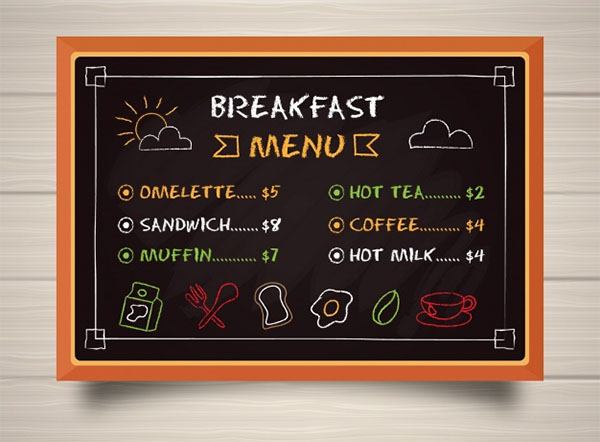 Blackboard Breakfast Menu Template