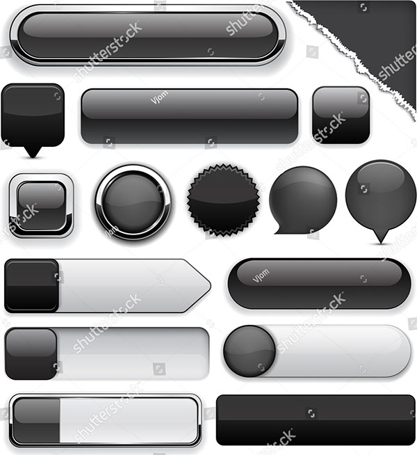 Blank Black Web Buttons