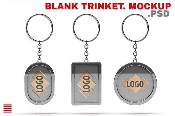 Blank Trinket Keychain Mockup