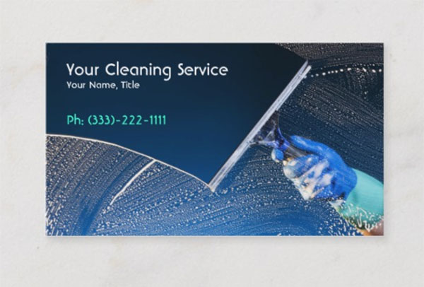 Blue Cleaning Service Business Card