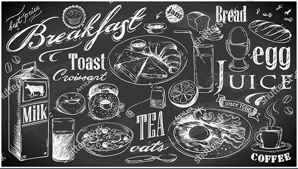 Breakfast Food Collection Menu Template