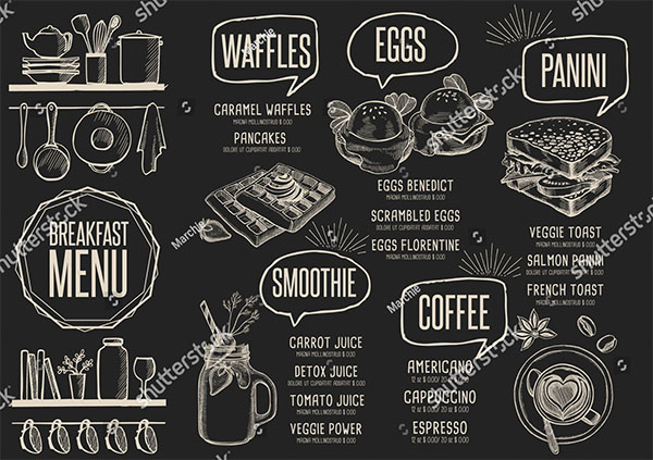Breakfast Menu Vector Design Template