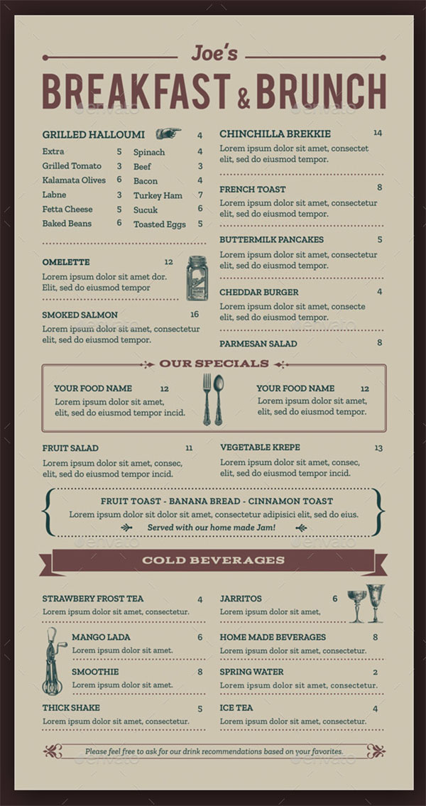 Breakfast and Brunch Menu Template