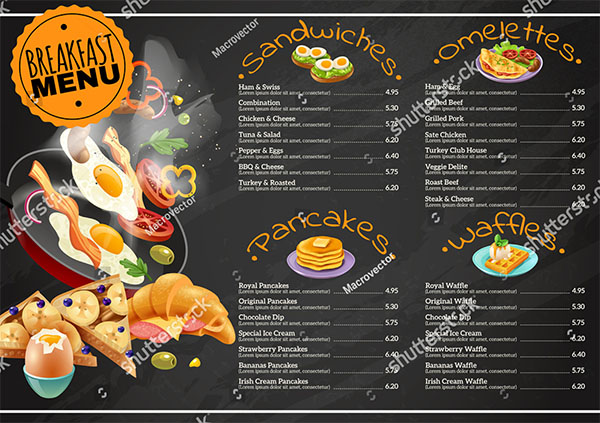 Breakfast menu on black chalkboard Template